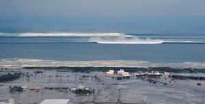 approaching tsunami - natori japan