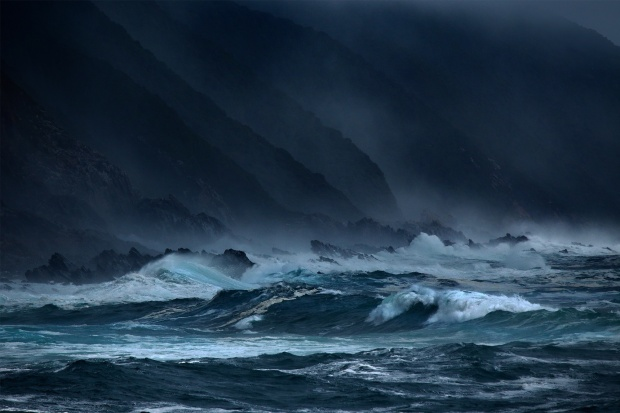 surf cliff night